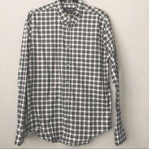 ZARA MAN green checkered button up dress shirt